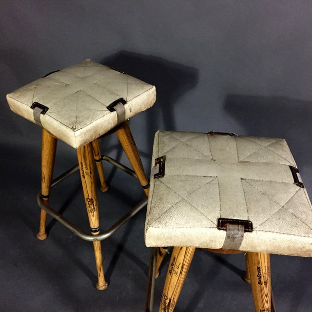 """Pair 1980s Baseball Bat 31.5"""" Stools, Vintage Plate Seats For Sale In New York - Image 6 of 10"""
