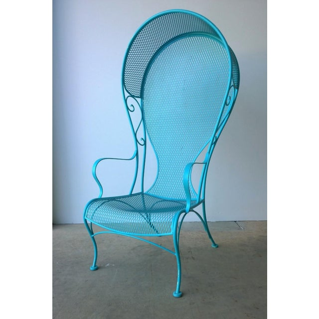 Metal Mid-Century Modern Russell Woodard Blue Canopy Patio Chair For Sale - Image 7 of 10