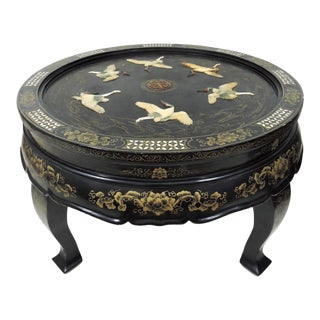 Antique Chinese 'Six Red Crowned Cranes' Folding Black Lacquer and Jade Tianjin Coffee Table For Sale