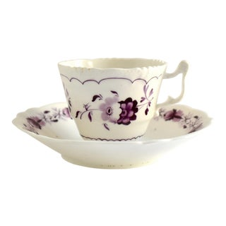 Antique Georgian Teacup & Saucer With Purple Flowers - a Pair For Sale