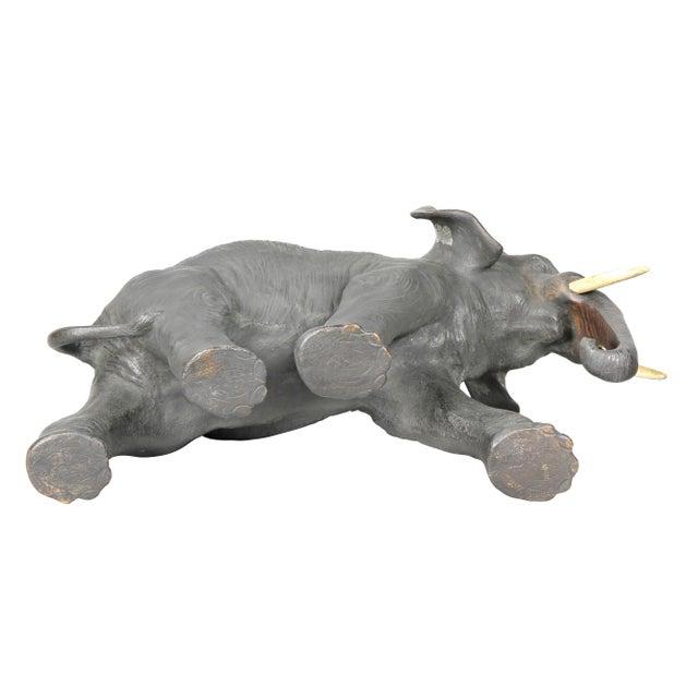 Japanese Bronze Elephant on Burl Wood Base For Sale - Image 9 of 10