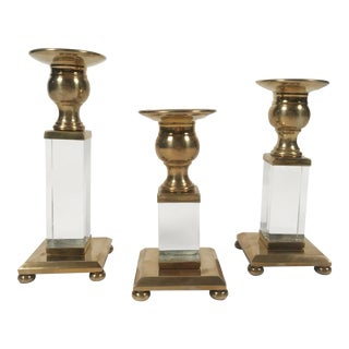 Brass and Lucite Candleholders, S/3 For Sale