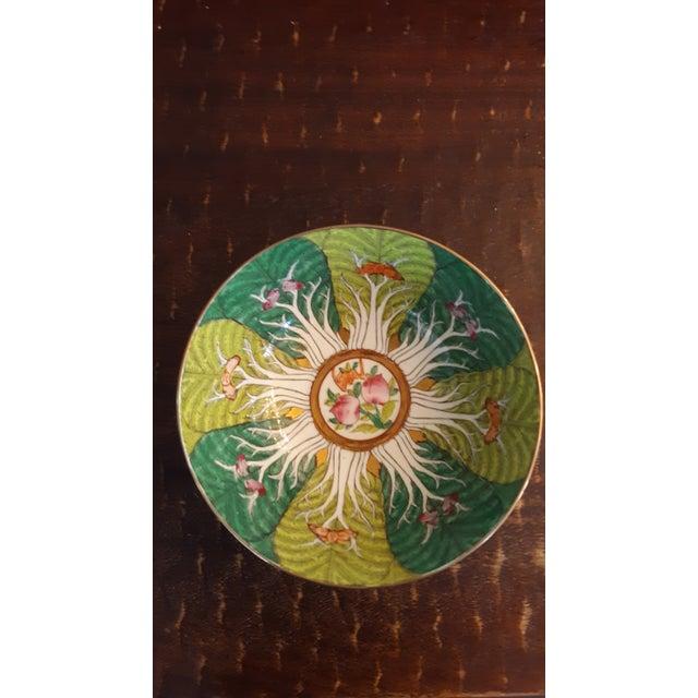 Mid-Century Modern Vintage Porcelain Butterfly and Bok Choy Leaf Bowl For Sale - Image 3 of 9
