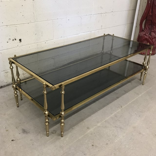 Hollywood Regency Italian Smoked Glass & Brass Coffee Table For Sale - Image 3 of 10