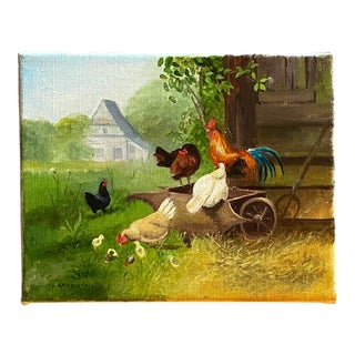 Contemporary Farmyard Scene with Hens and a Rooster Oil Painting For Sale
