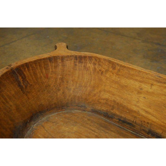 18th Century Large French Carved Wood Dough Bowl or Trough For Sale - Image 4 of 8