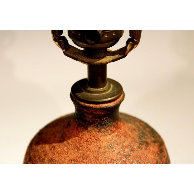 Ceramic Vintage Polia Pillin Pottery Lava Sand Textured Mid Century Mid-Century Modern Studio Vase Lamp For Sale - Image 7 of 9