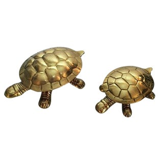 1970's Brass Turtle Hinged Lid Trinket Boxes - a Pair For Sale