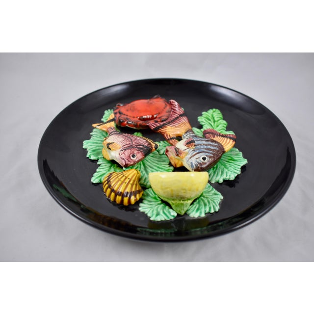 Ceramic Vallauris French Provençal Palissy Trompe L'oeil Seafood & Lemon Wall Plate For Sale - Image 7 of 11