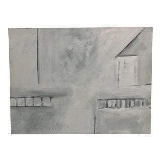 Acrylic on Board Modern Painting of Urban City Scape, Signed by Artist on Back For Sale