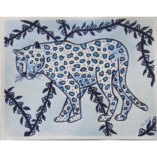 Leopard in Blue by Cleo Plowden For Sale
