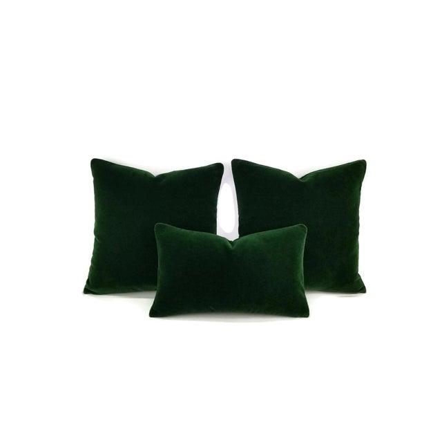 Not Yet Made - Made To Order Pierre Frey Bold Mohair Velvet in Forest - Dark Emerald Green Mohair Velvet Lumbar Pillow For Sale - Image 5 of 6
