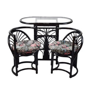 1960s Art Deco Style Diminutive Rattan Table and Chairs - 3 Pieces For Sale