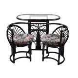Image of 1960s Art Deco Style Diminutive Rattan Table and Chairs - Set of 3 For Sale