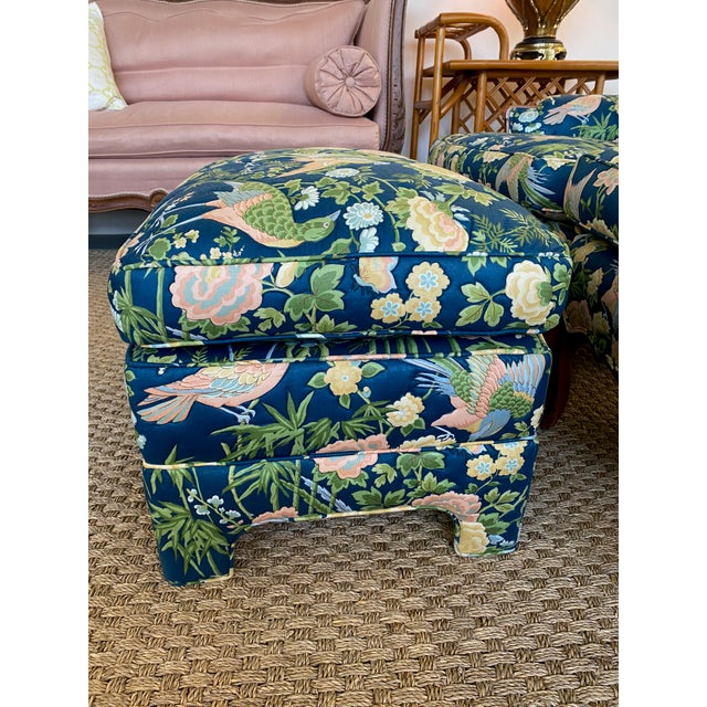 Wood Vintage Quilted Chairs and Ottoman - Set of 3 For Sale - Image 7 of 10