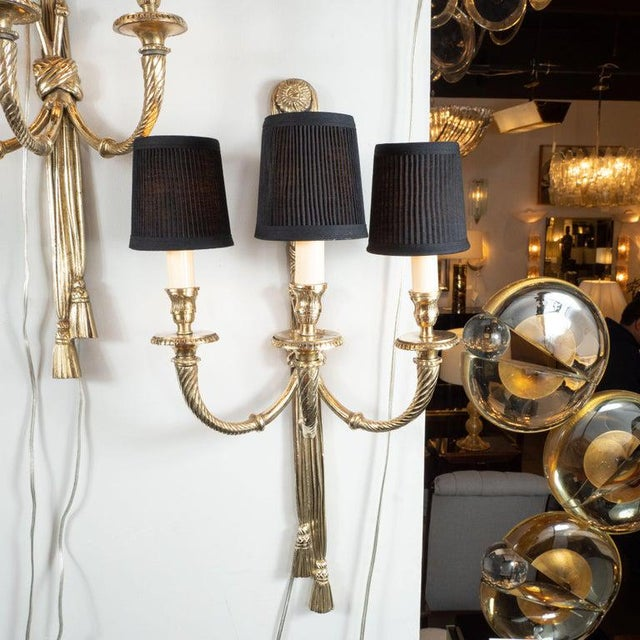 Mid-Century Modern Neoclassical Silvered Bronze Sconces - a Pair For Sale - Image 4 of 9