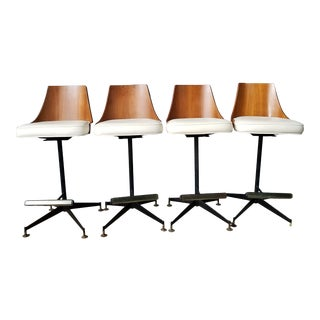Mid Century Modern Bentwood Wrought Iron Bar Stools- Set of 4 For Sale