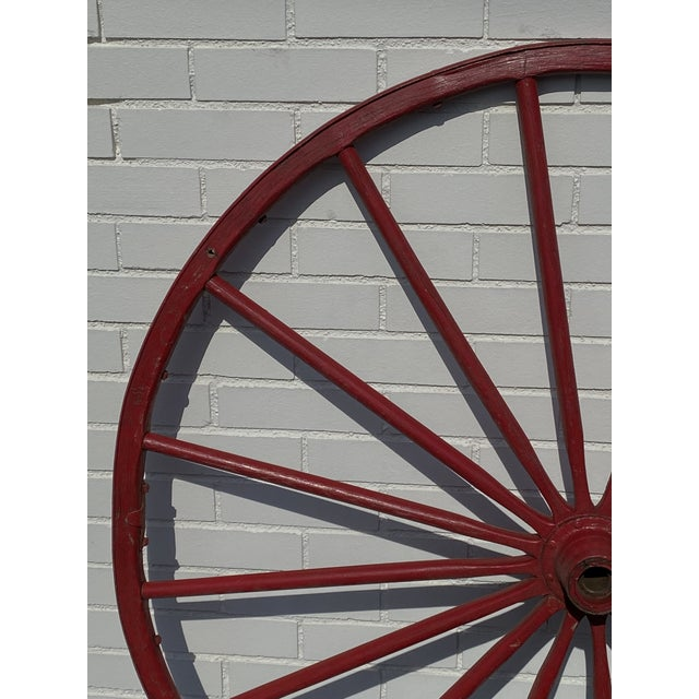 """Antique Red Wooden Wagon Wheel 43"""" Diameter 16 Spoke NICE Good overall condition. Typical for age. No major breaks or..."""