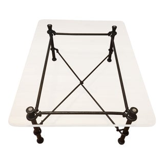 Mid-Century Modern Rectangular Wrought Iron Coffee Table With Glass Top For Sale