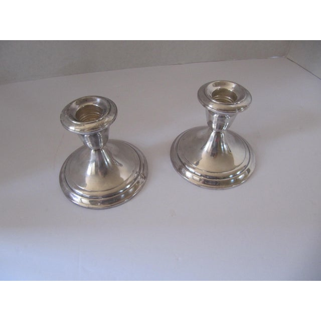 A table always looks more elegant when lit by candles. This pair(2) of classic vintage silver-plate Gorham candle holders...