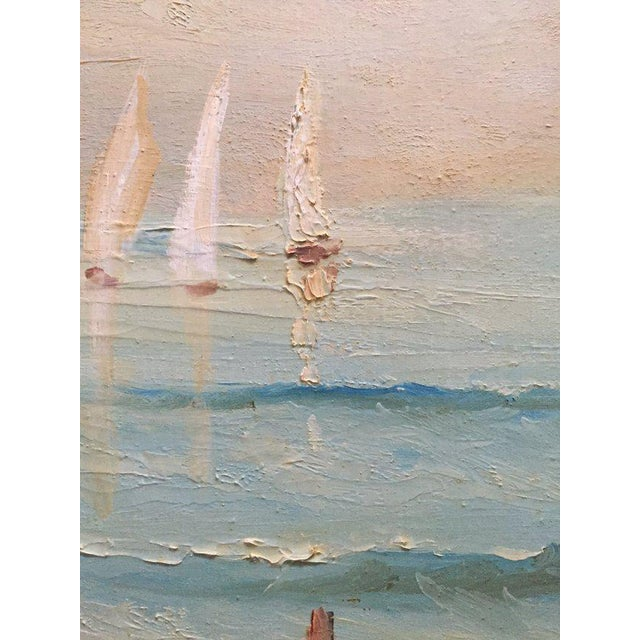 1960s Vintage Boats at Sea Amalfi Coast Oil on Canvas Painting For Sale - Image 4 of 11