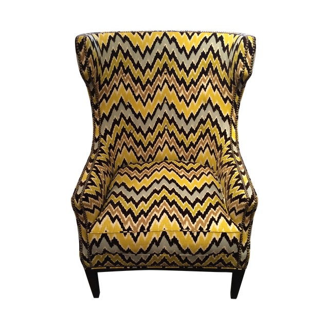 Flame Stitch Upholstered Club Chair For Sale