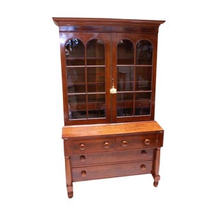 19th Century American Empire Gothic Secretary Chest For Sale