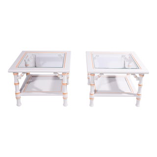 Chinoiserie White Faux Bamboo Side Tables - a Pair For Sale