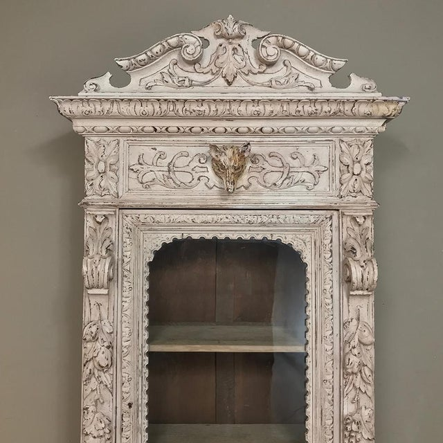 19th Century French Renaissance Painted Hunt Bookcase Buffet a Deux Corps For Sale - Image 4 of 12