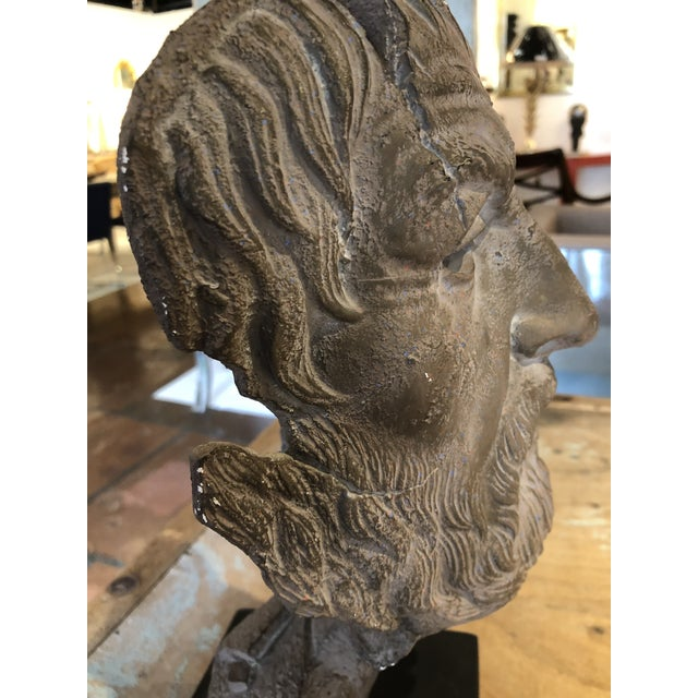Hellenic Style Plaster Bust on Stand For Sale - Image 12 of 13