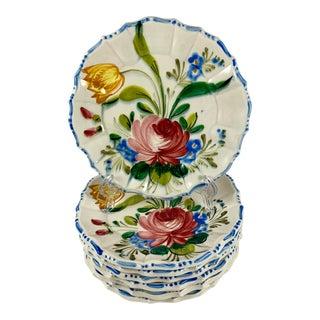 1930s Italian Faïence Nove Rose Plates, S/8 For Sale