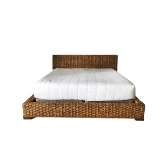 Country Ralph Lauren Woven Rattan King Bedframe For Sale