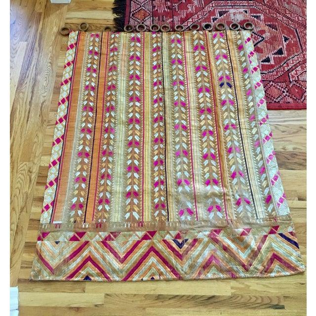 Antique Indian Phulkari Fabric Panels - A Pair - Image 2 of 12