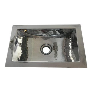 Waterworks Hammered Copper Lavatory Sink For Sale