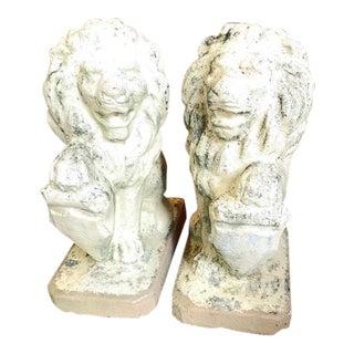 Vintage Concrete Garden Lion Sentinels - A Pair