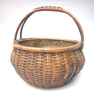 Japanese Bamboo Basket Ikebana Tea Ceremony Flower Antique Vase Flower Sumikago Preview