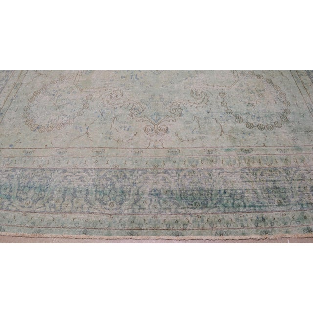 """1940s Boho Chic Persian Kerman Blue Wool Rug - 9'7""""x12'9"""" For Sale - Image 4 of 7"""