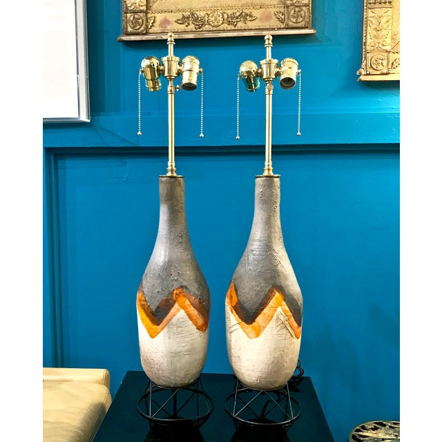Pair Mid-Century Italian Glazed Terra Cotta Lamps For Sale - Image 10 of 10