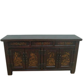 Chinese Lotus Flower Solid Wood Sideboard For Sale