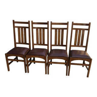 Stickley Mission Oak Dining Chairs - Set of 4 For Sale