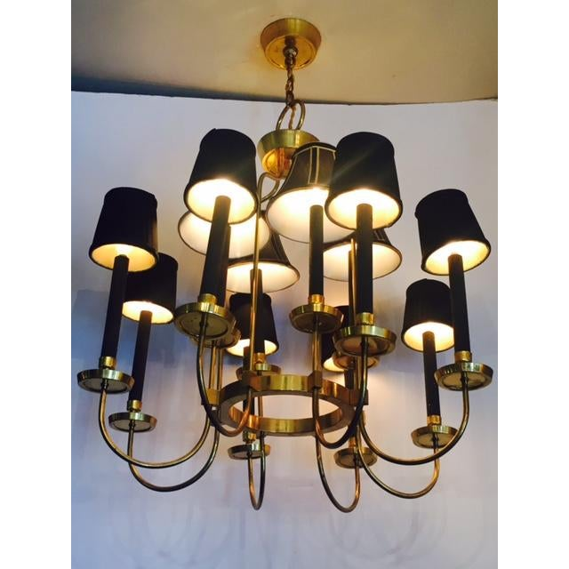 Mid-Century Italian Black & Brass Chandelier - Image 3 of 6