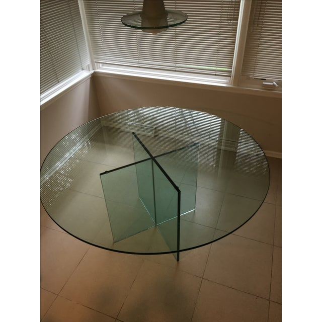 X-Base Round Top Glass Dining Table - Image 6 of 7