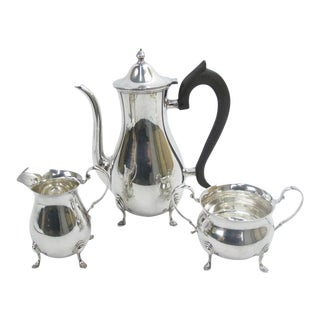 Vintage Georgian Style Sterling Silver Coffee Pot Creamer Sugar Service - Set of 3 For Sale