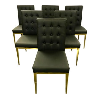 Mid-Century Modern Brass and Black Leather Tufted Dining Chairs - Set of 6 For Sale
