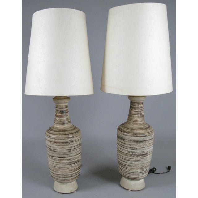 Vintage 1960's Italian Ceramic Table Lamps - a Pair For Sale In New York - Image 6 of 6
