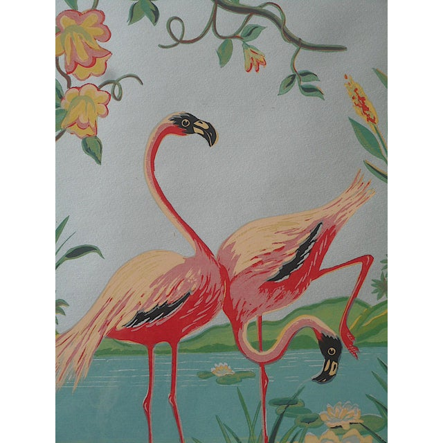 Vintage Mid 20th C. Hand Finished Silkscreen-Flamingos-Framed - Image 3 of 3
