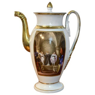 Old Paris Operatic/Theatrical Motif Coffee Pot, 1840 For Sale
