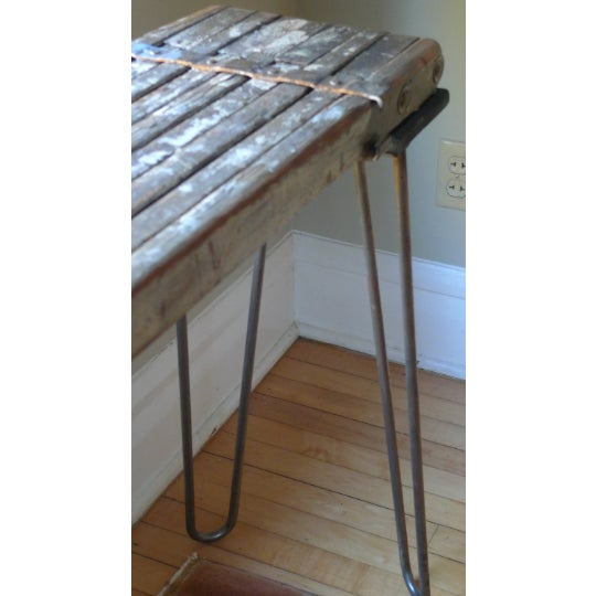 Brown Sofa Table, Console, Entryway Table From Industrial Painter's Scaffold on Steel Hairpin Legs For Sale - Image 8 of 11