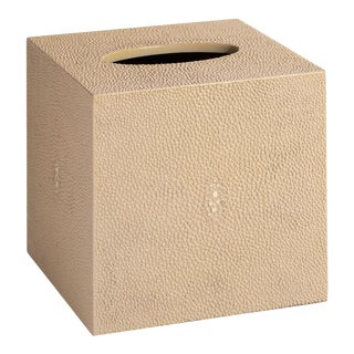Faux Shagreen Natural Tissue Box For Sale