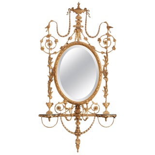 George III Style Giltwood Girandole Mirror For Sale